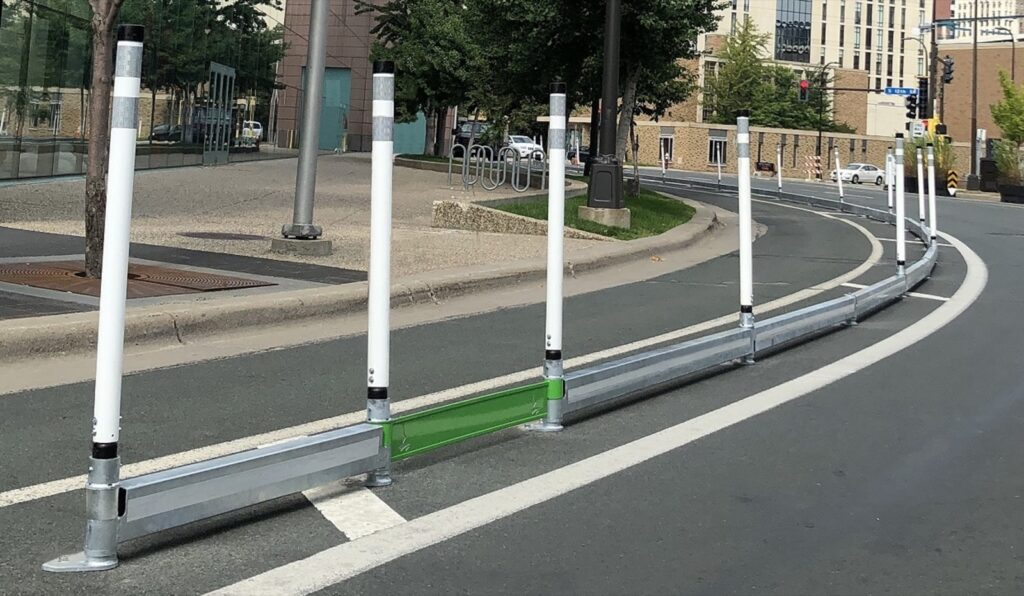 Photo of bikerail delineators with echorail cutouts