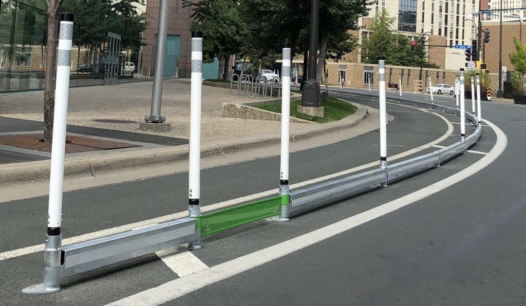 Photo of bikerail delineators with echorail cutouts