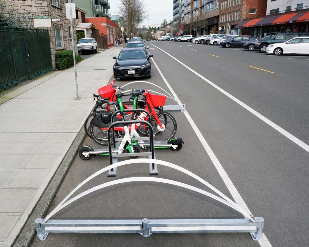 Mobility Hub with BikeRail Bike Lane Deliniators